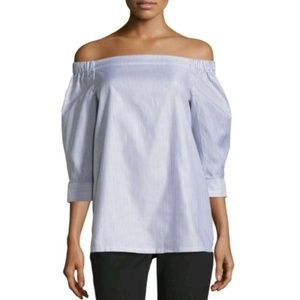 Theory Joscla Striped Off the Shoulder Blouse S